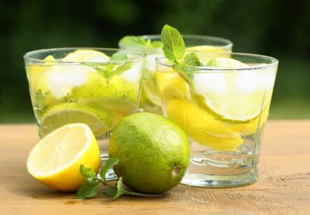 distilled water with lemon